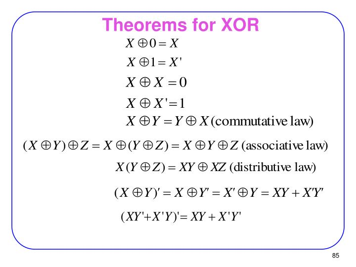 Theorems for XOR