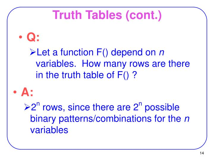 Truth Tables (cont.)