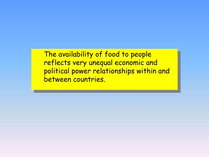 The availability of food to people reflects very unequal economic and political power relationships within and between countries.