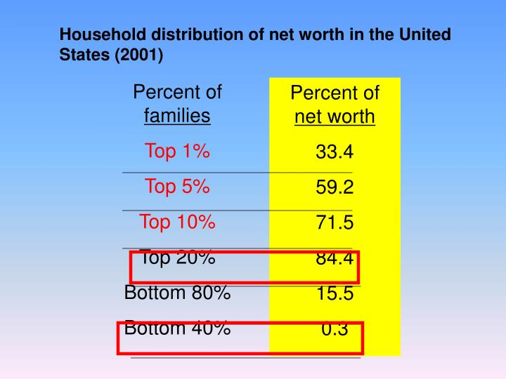 Household distribution of net worth in the United States (2001)