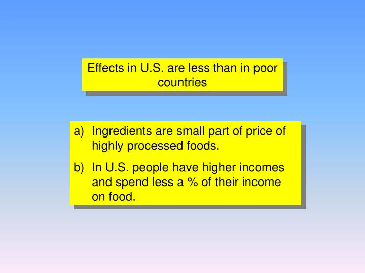 Effects in U.S. are less than in poor countries