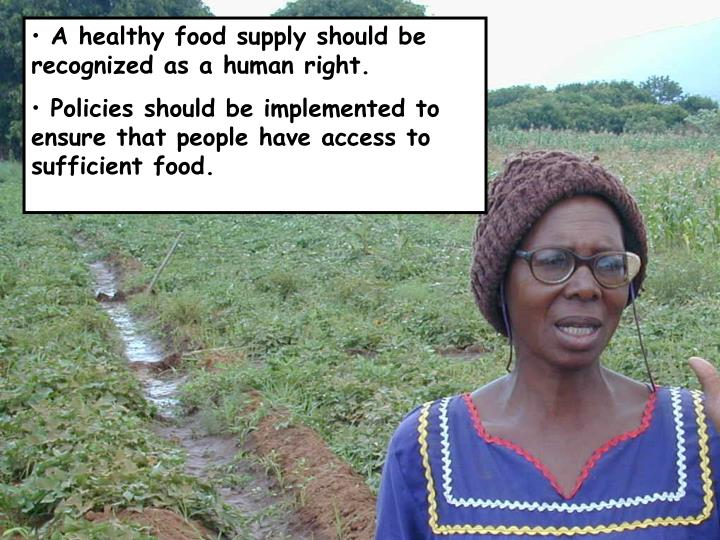 A healthy food supply should be recognized as a human right.