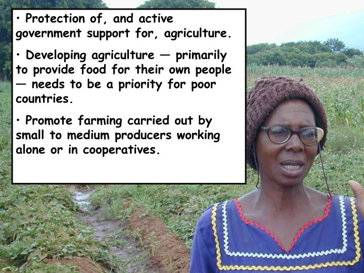 Protection of, and active government support for, agriculture.