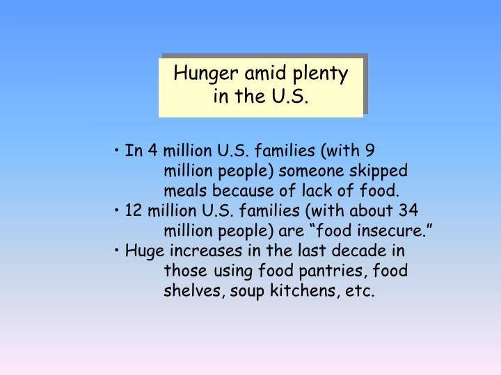 Hunger amid plenty in the U.S.