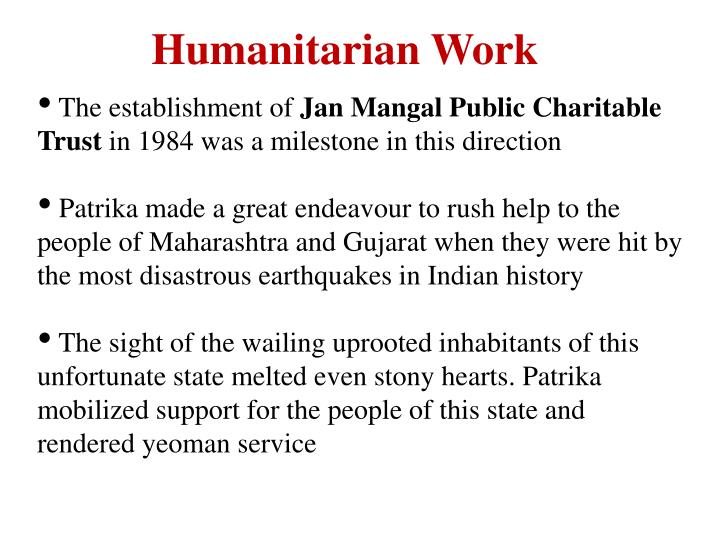 Humanitarian Work