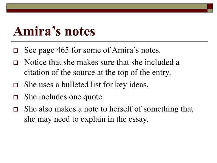 Amira's notes