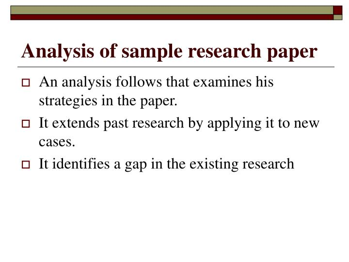 Analysis of sample research paper