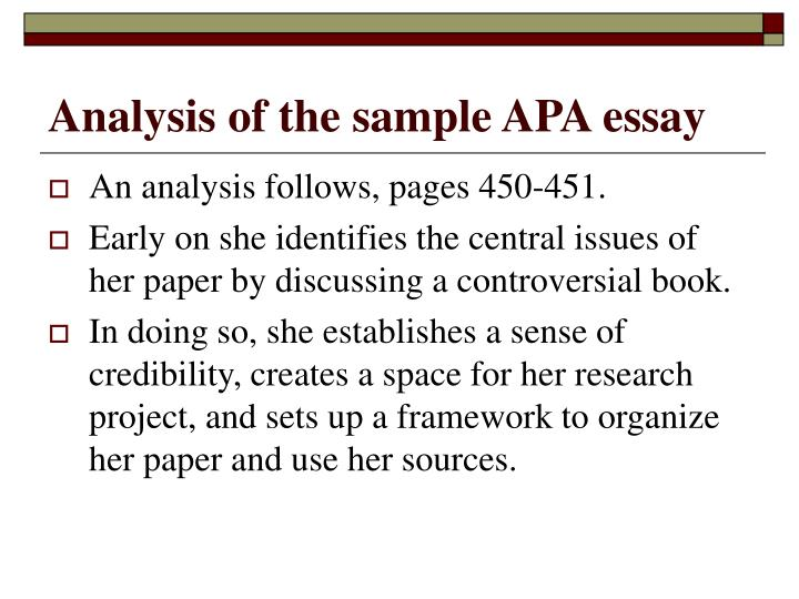 Analysis of the sample APA essay