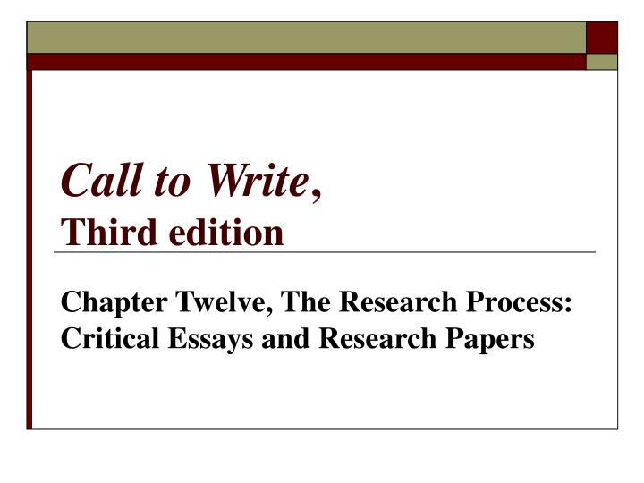 Call to write third edition