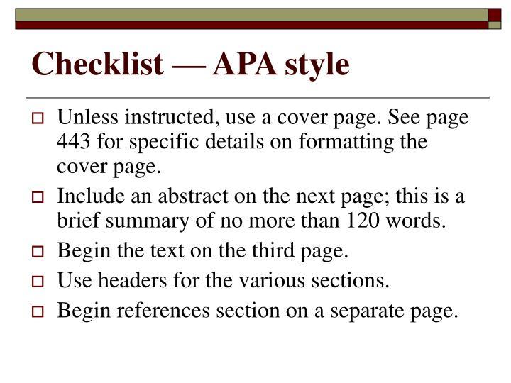 Checklist — APA style