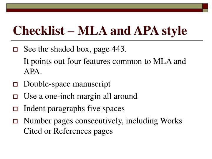 Checklist – MLA and APA style