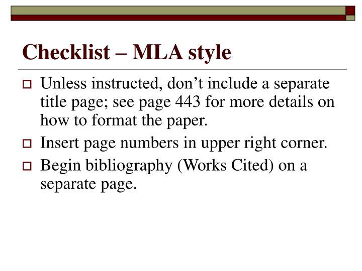 Checklist – MLA style