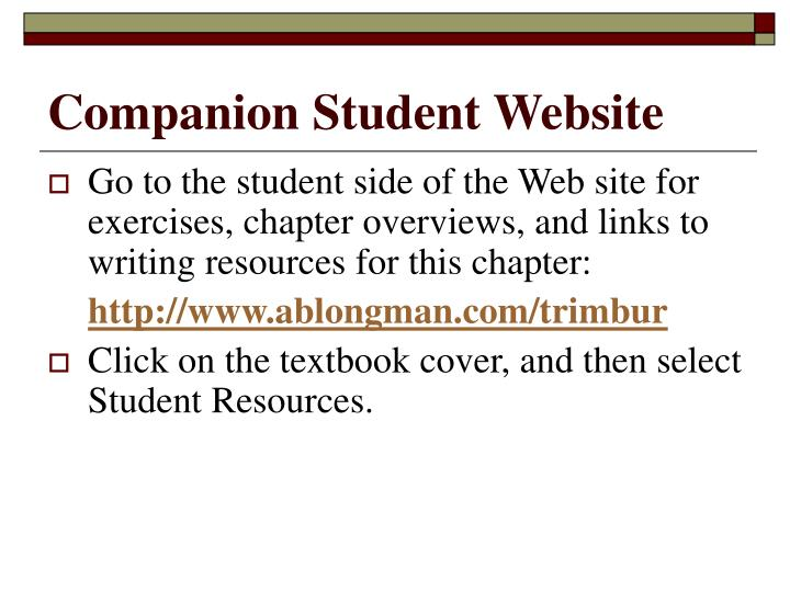 Companion Student Website