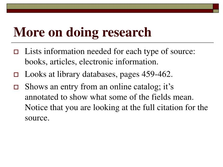 More on doing research