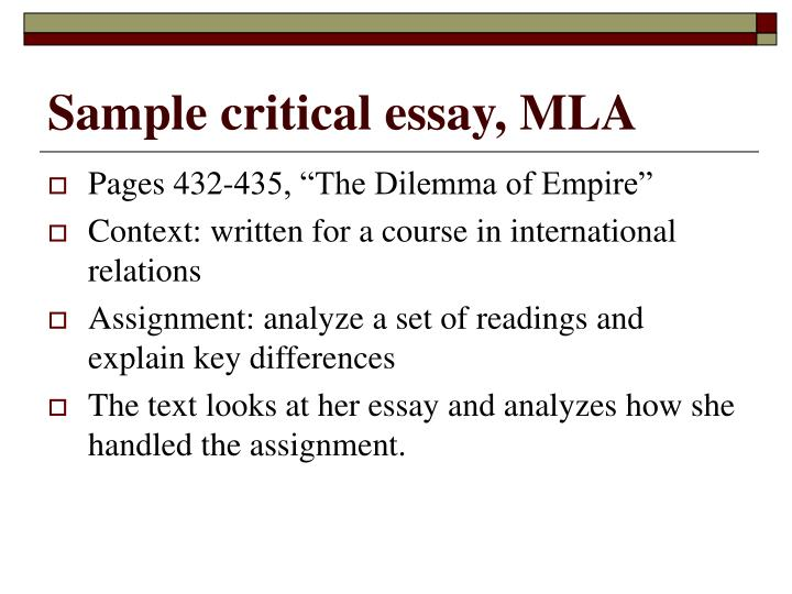 Sample critical essay, MLA