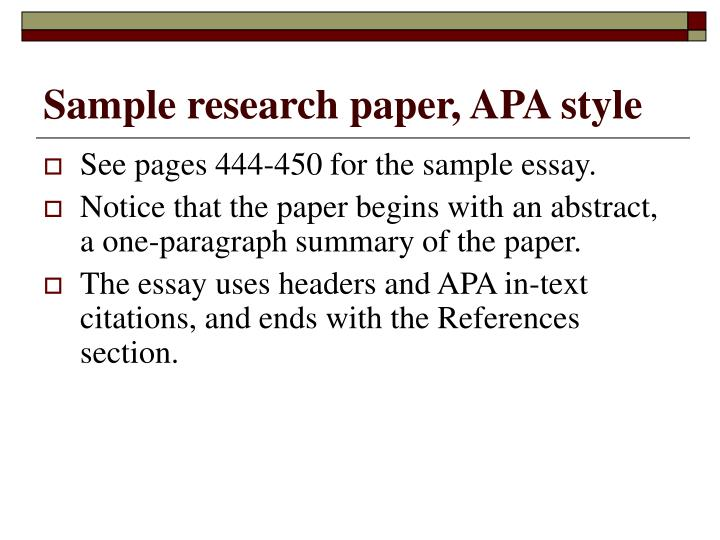 Sample research paper, APA style