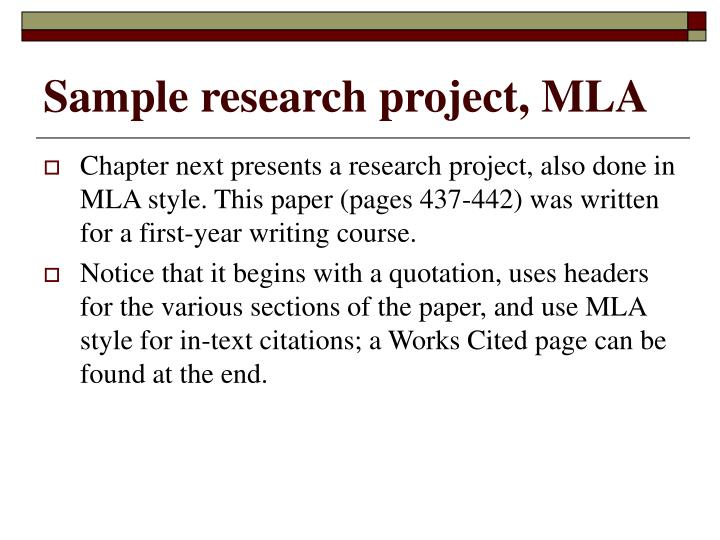 Sample research project, MLA