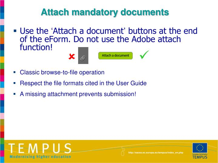 Attach mandatory documents