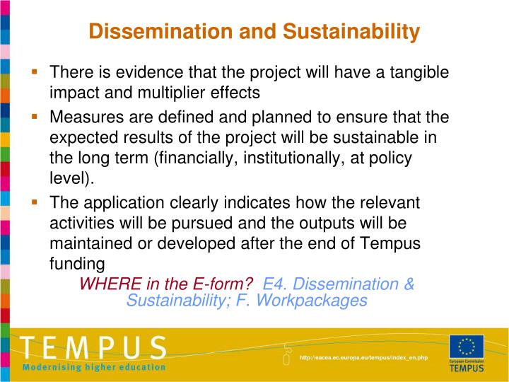 Dissemination and Sustainability