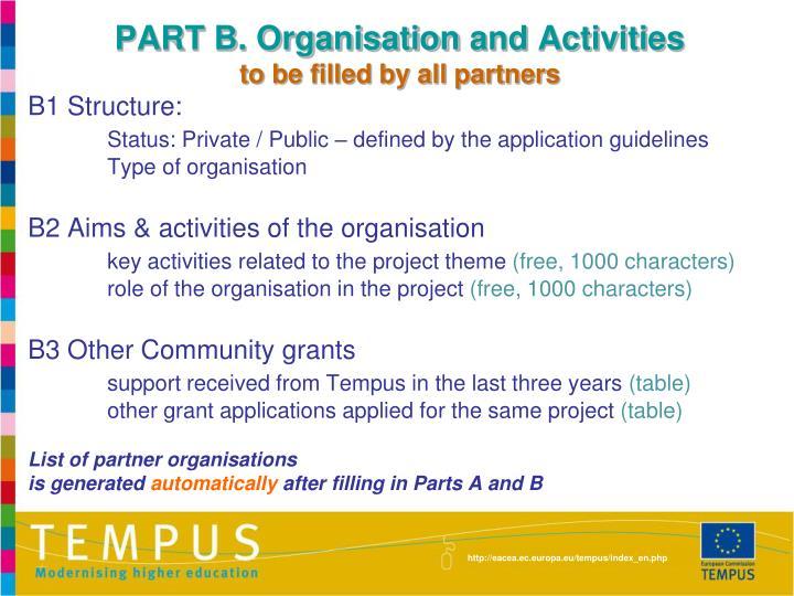 PART B. Organisation