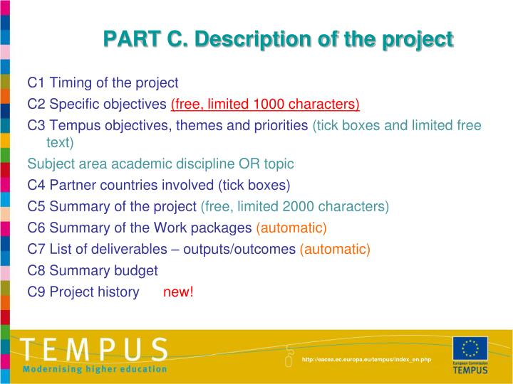 PART C. Description of the project