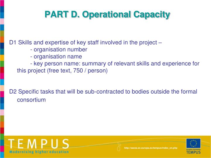 PART D. Operational Capacity