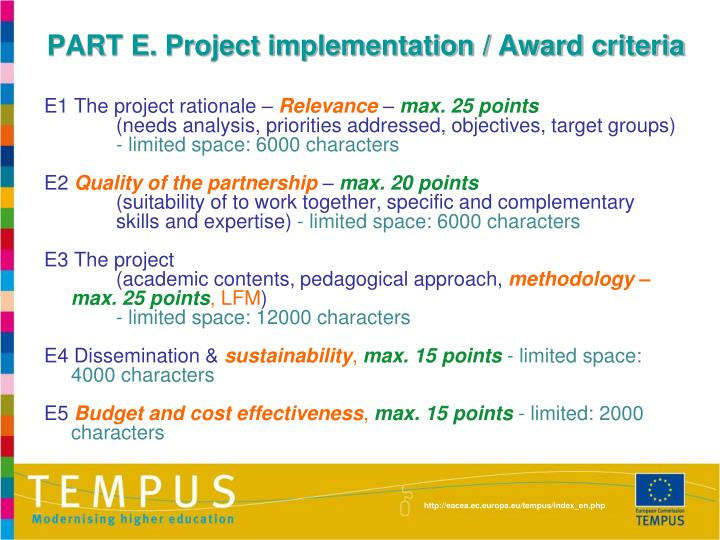 PART E. Project implementation / Award criteria