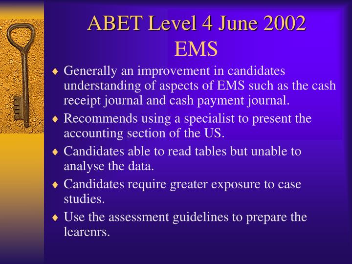 ABET Level 4 June 2002