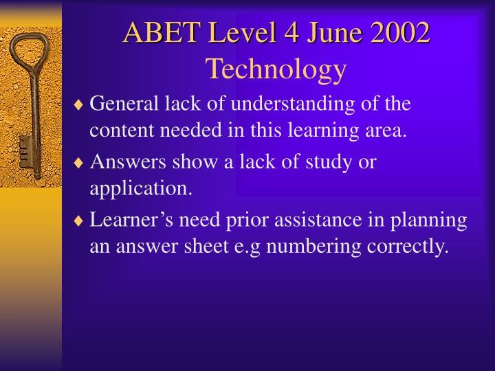 ABET Level 4 June 2002