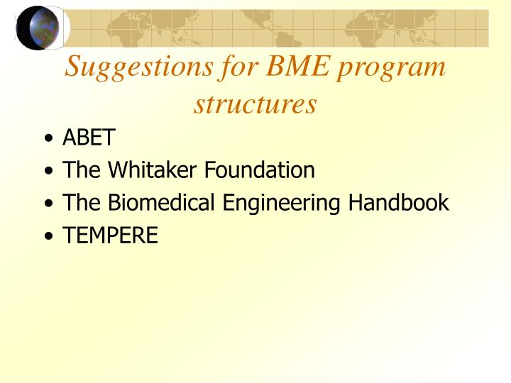 Suggestions for BME program structures