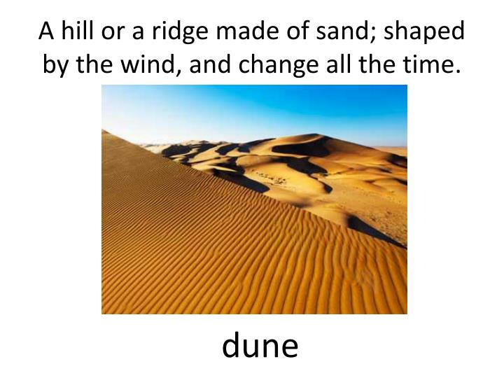A hill or a ridge made of sand; shaped by the wind, and change all the time.