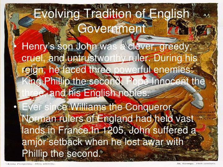 Evolving Tradition of English Government