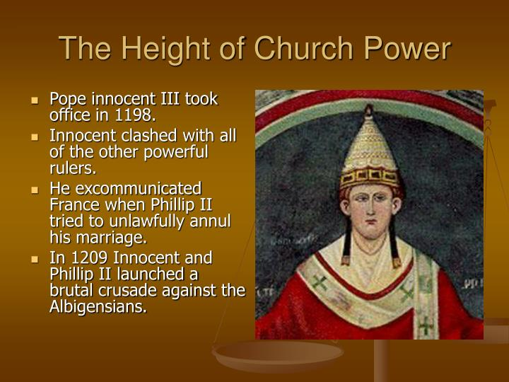 Pope innocent III took office in 1198.