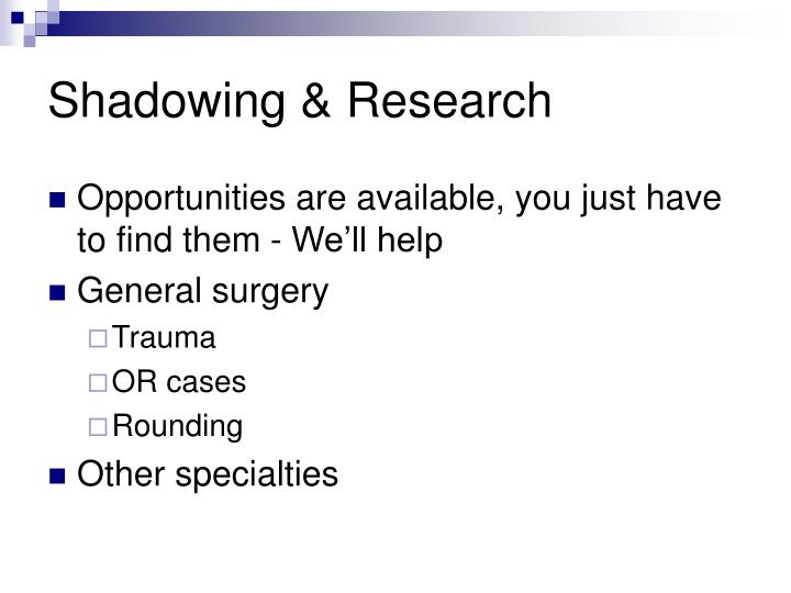 Shadowing & Research