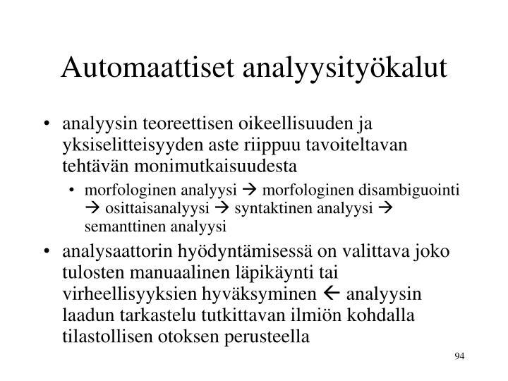 Automaattiset analyysityökalut
