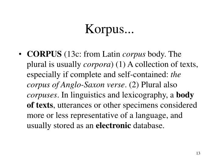 Korpus...