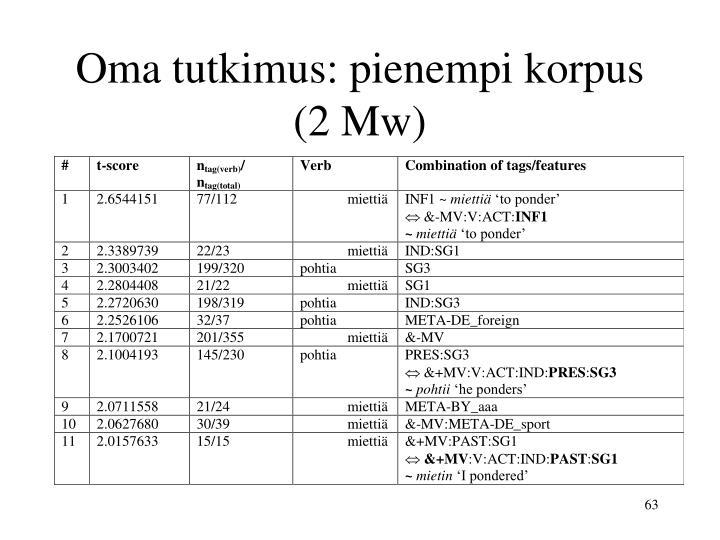 Oma tutkimus: pienempi korpus (2 Mw)