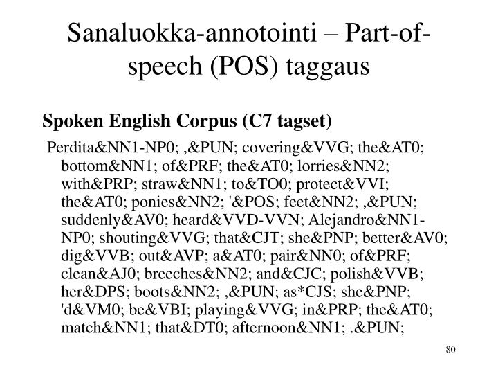 Sanaluokka-annotointi – Part-of-speech (POS) taggaus