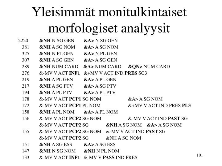 Yleisimmät monitulkintaiset morfologiset analyysit