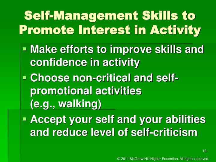 Self-Management Skills to Promote Interest in Activity