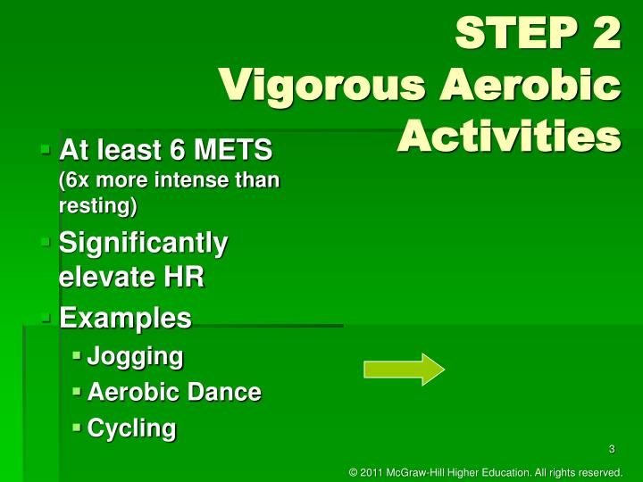 Step 2 vigorous aerobic activities