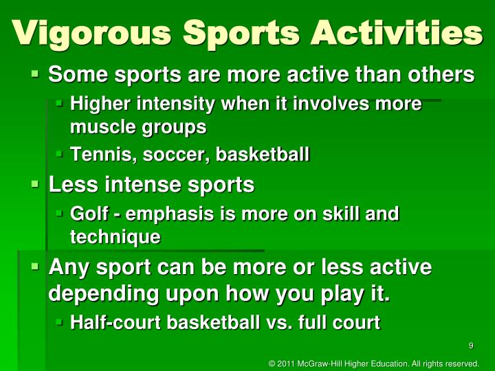 Vigorous Sports Activities