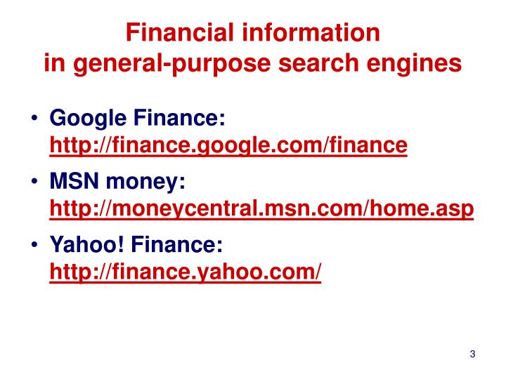 Financial information in general purpose search engines