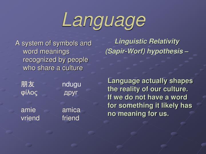A system of symbols and word meanings recognized by people who share a culture