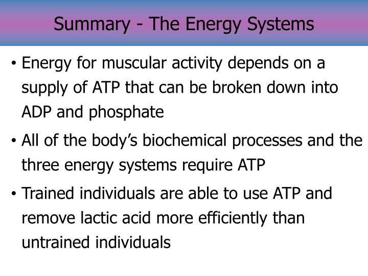 Summary - The Energy Systems