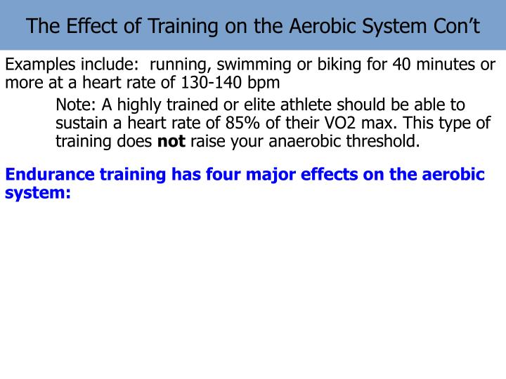 The Effect of Training on the Aerobic System Con't