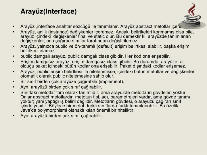Arayüz(Interface)