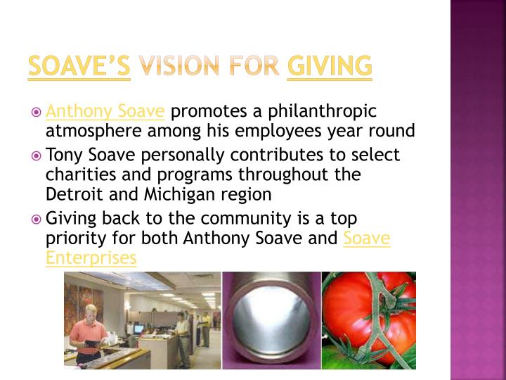 Soave s vision for giving