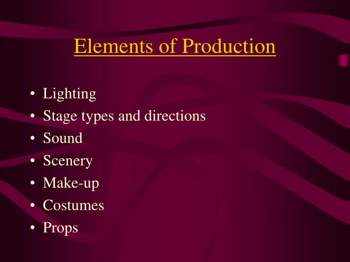 Elements of production1