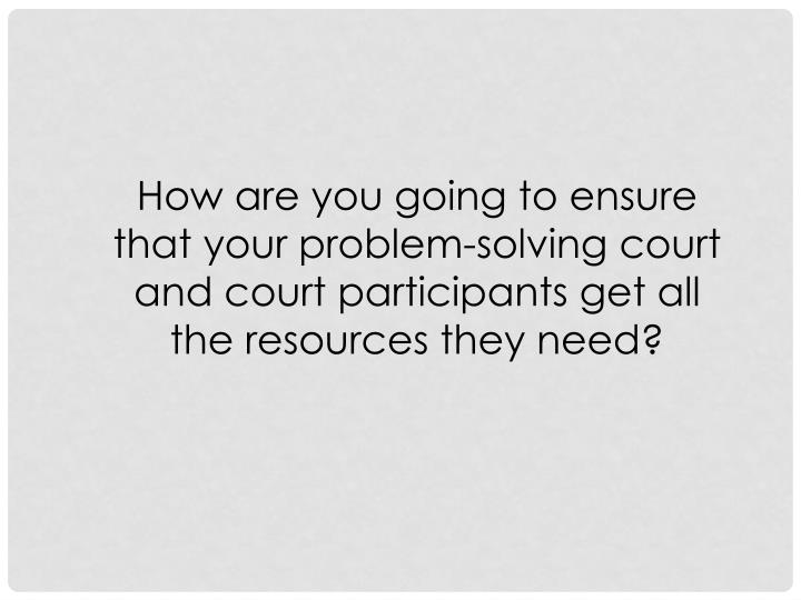 How are you going to ensure that your problem-solving court and court participants get all the resources they need?